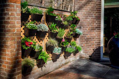 Verticale tuin panelen buiten met bloembakken