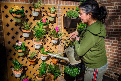Verticale tuin voor verse kruiden en bloemen buiten water geven