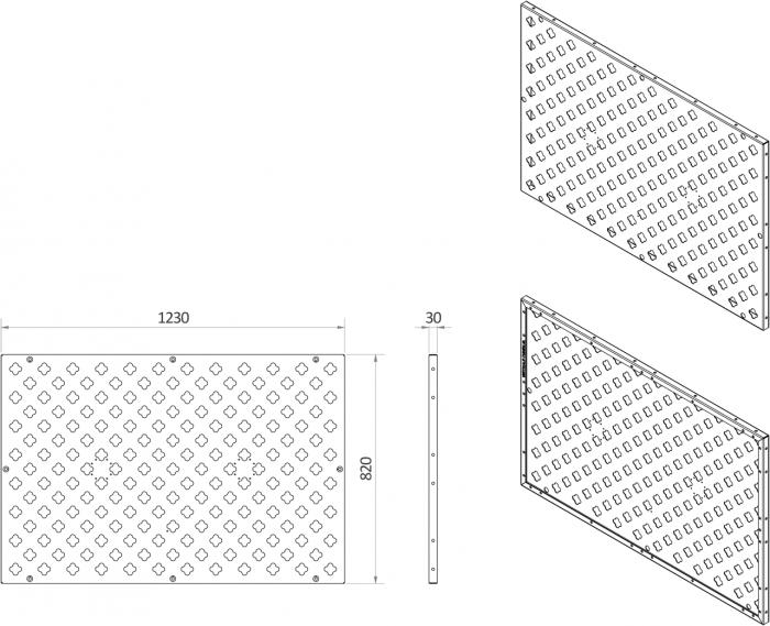 Afmetingen van verticale tuin paneel rechthoekig